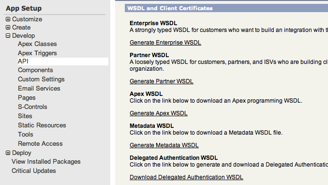 Screenshot of salesforce setup for generating a wsdl