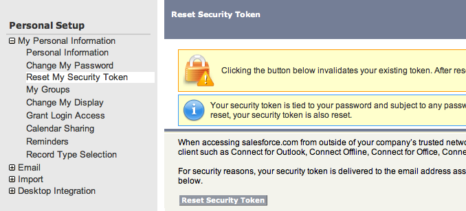 Screenshot of salesforce setup for resetting login security token